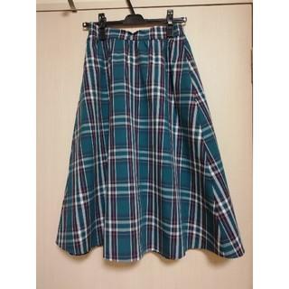 ジーユー(GU)のジーユー チェック フレアスカート グリーン(ひざ丈スカート)