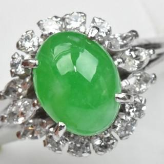 松坂屋 保 Pt900 翡翠 ひすい ダイヤモンドリング 7号 指輪  (リング(指輪))