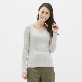 ジーユー(GU)のラメリブVネックセーター(長袖)   gu(ニット/セーター)