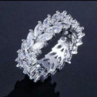 高品質キュービックジルコニアオリーブブランチハンドメイドリング15号(リング(指輪))