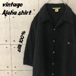 【人気】90s ビンテージアロハシャツ シルク100% 透かし柄 総柄