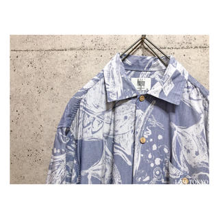[used]'寒色系' art design aloha shirt.