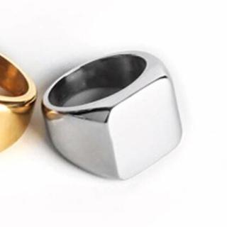 スクエアリング ステンレス シルバー 印台 リング メンズ アクセサリー 指輪(リング(指輪))