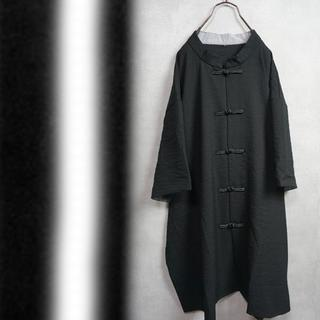 Big size チャイナシャツ 半袖 黒