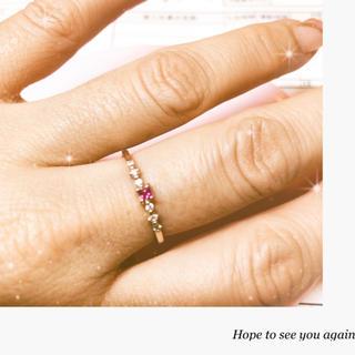 4℃ - 最終価格❗️ルビー ダイヤモンド 華奢リング10K
