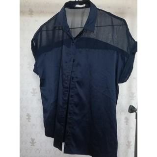 ジーユー(GU)のGU ネイビーシャツ(シャツ/ブラウス(半袖/袖なし))