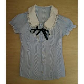 セシルマクビー(CECIL McBEE)のセシルマクビー リボン フリル 襟 ストライプ 半袖 シャツ セシル CECIL(シャツ/ブラウス(半袖/袖なし))