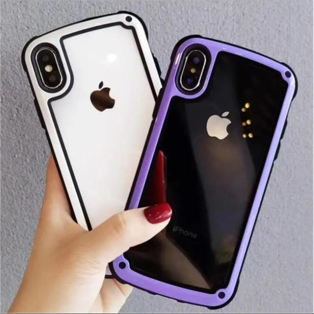iphone7 ケース フレーム - 衝撃吸収 iPhoneケース 白/紫 フレーム ショックプルーフケースの通販 by Parm Tree's shop|ラクマ
