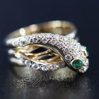 K18 スネーク 蛇 ダイヤモンド 0.4ct リング(リング(指輪))