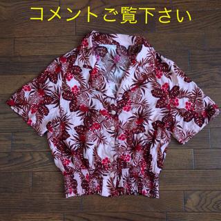 レトロプリントオープンカラーシャツ アロハ ボタニカル柄 ピンク