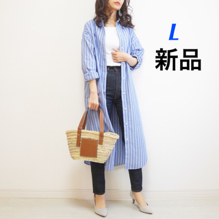 GU - ★新品 未使用★ gu ストライプシャツワンピース L