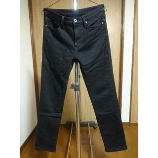 GU - gu デニムルックスキニーパンツ ブラック Sサイズ