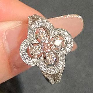 ピンク ダイヤモンド リング pt900 美品(リング(指輪))