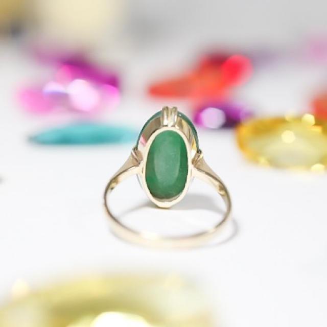 K18 翡翠 ビンテージリング レディースのアクセサリー(リング(指輪))の商品写真