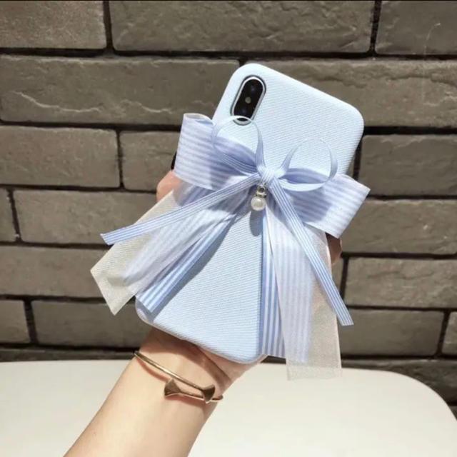 iphone8 ケース thrasher / 新品 かわいいリボン 白縹 アイフォンケース  iPhone XRの通販 by ペンギン's shop|ラクマ