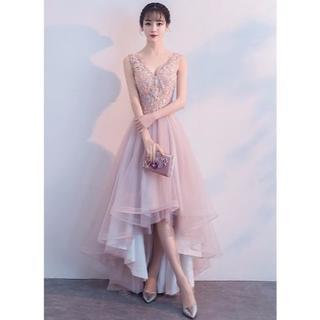 bd4dfacd1496b カラードレス ピンク 柔らかく重ねたチュールスカート フィッシュテール 枝花(ミディアムドレス)