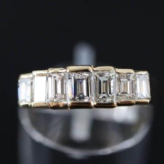 K18 エメラルドカット ダイヤモンド デザイン リング 1.74ct(リング(指輪))