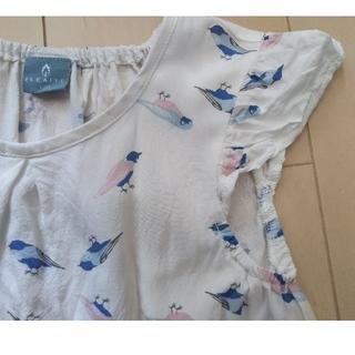女の子120㎝ 小鳥柄ワンピース 白