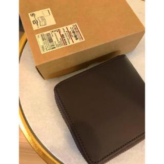 ムジルシリョウヒン(MUJI (無印良品))の【新品】MUJI イタリア産ヌメ革ラウンドファスナー二つ折り財布  (折り財布)