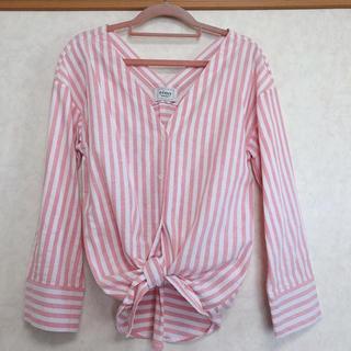 eimy istoire - eimy istoire フロントリボンストライプシャツ ピンク