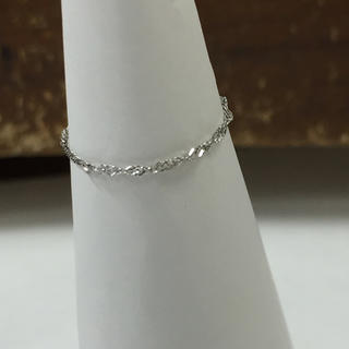 Pt850 プラチナ スクリュー チェーンリング  華奢リング 指輪 レディース(リング(指輪))