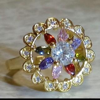 ファッションリング  花の形 マルチカラー ゴールドカラー リング 12号(リング(指輪))