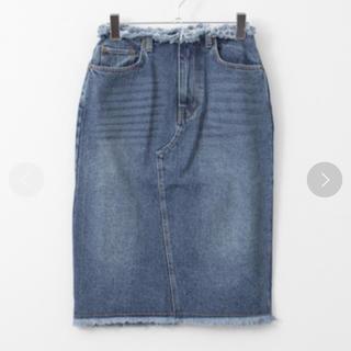ケービーエフ(KBF)のフリンジデニムスカート(ひざ丈スカート)