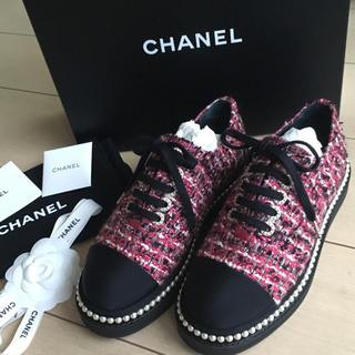 シャネル(CHANEL)の新品♡CHANEL 靴 シャネル シューズ ツイード パール スニーカー ピンク(スニーカー)