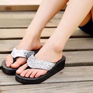 新品 サンダル 銀 23.5cm 表記:38 処分 ビーチ プール【シルバー】A(サンダル)