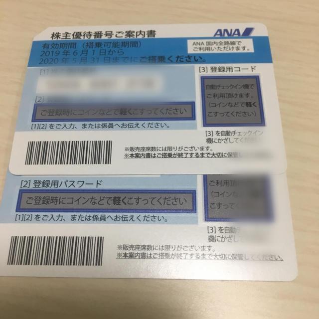 ANA(全日本空輸)(エーエヌエー(ゼンニッポンクウユ))の全日空株主優待二枚セット 最新 チケットの乗車券/交通券(航空券)の商品写真