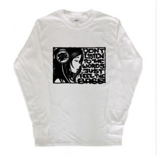 ヘッドフォン ウーマン イラスト 長袖 ロングTシャツ  git25(Tシャツ/カットソー(七分/長袖))