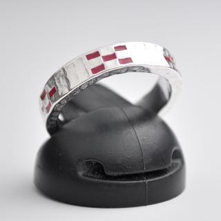 ★沖縄 ミンサーリング silver925 フリーサイズ レッド★(リング(指輪))