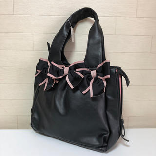 ギャラリービスコンティ(GALLERY VISCONTI)のリボンつき2wayバッグ  ブラック×ピンク ギャラリービスコンティ 新品(ハンドバッグ)