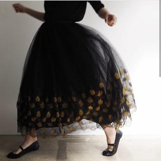 ロキエ(Lochie)の専用!売り切り値下げ!vintage☆1980s  flowerチュールスカート(ロングスカート)