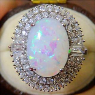 高品質*大粒のオパール調シルバーカラーリング指輪ゴージャス大きいサイズ(リング(指輪))