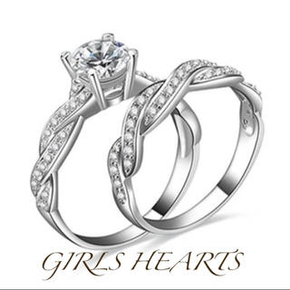 送料無料10号2個セット重ね付けクロムシルバースーパーCZダイヤモンドリング指輪(リング(指輪))