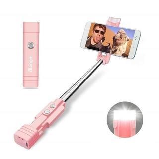自撮り棒 Bluetooth シャッターボタン付き 自撮り補助ライト ピンク