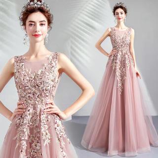 fd3920219d209 刺繍 ラインストーン 花嫁 素敵 パーティー 結婚式 ファッション ピンク (ウェディングドレス)