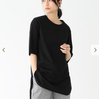 デミルクスビームス(Demi-Luxe BEAMS)のATON / スビン ラウンドヘム Tシャツ/ブラック(Tシャツ(半袖/袖なし))