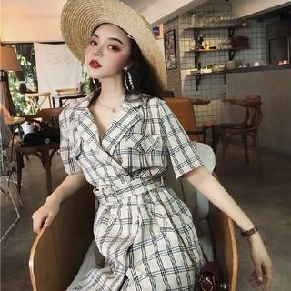 新品  レトロ  ファッション  ベルト付きチェック シャツワンピース(ひざ丈ワンピース)