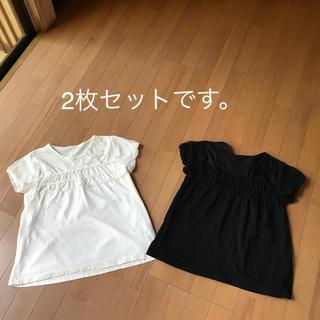 GU半袖 レースカットソー2枚セット(150)黒&白