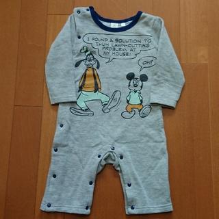 Disney - 新生児 裏起毛 ロンパース 80 Disney ミッキー柄 グレー
