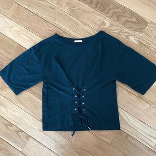 ジーユー(GU)のコルセット風レースアップTシャツ(Tシャツ(半袖/袖なし))