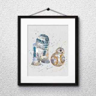 ディズニー(Disney)のR2D2&BB8(スターウォーズ)アートポスター【額縁つき・送料無料!】(ポスター)