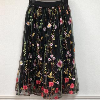 ティティベイト(titivate)のtitivate 花柄刺繍チュールスカート(ひざ丈スカート)