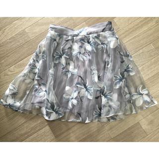 ダズリン(dazzlin)のストライプ花柄オーガンジースカート(ミニスカート)