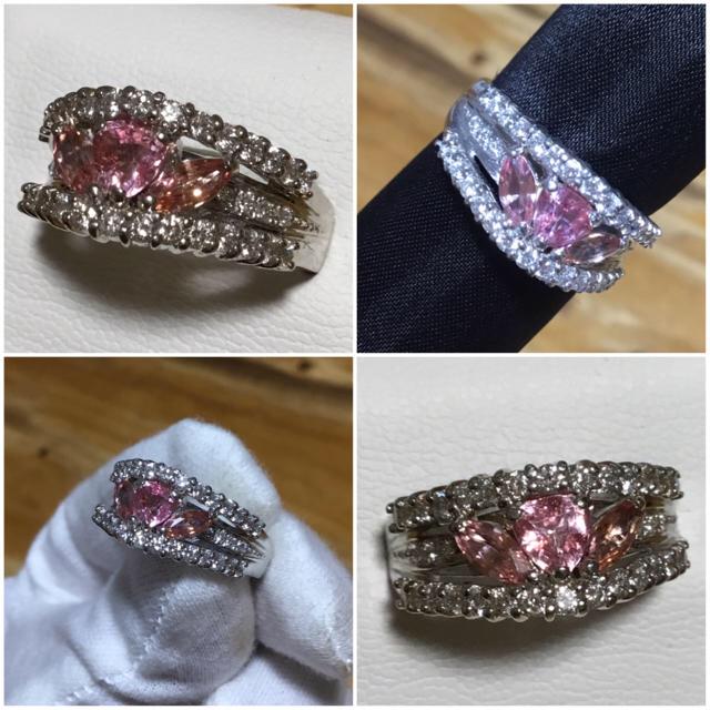 ゴージャス✨パパラチア&ダイヤモンドリング 指輪約18号 鑑別書付 レディースのアクセサリー(リング(指輪))の商品写真