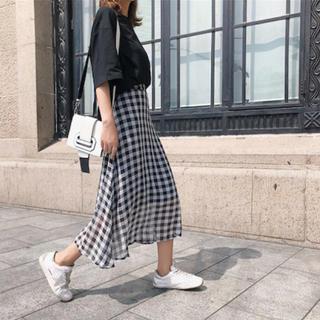 ギンガムチェック シフォンスカート Mサイズ(ロングスカート)
