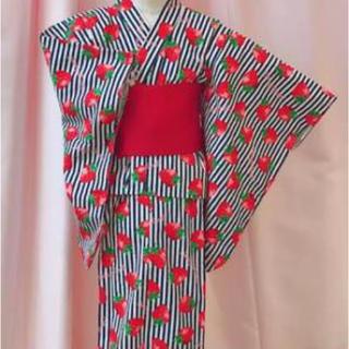 シャーリーテンプル(Shirley Temple)のにゃ様専用シャーリーテンプル☆昨年イチゴ浴衣 ネイビー M (甚平/浴衣)