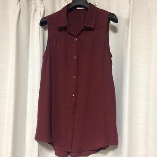 ジーユー(GU)のGU ブラウス ボルドー S(シャツ/ブラウス(半袖/袖なし))